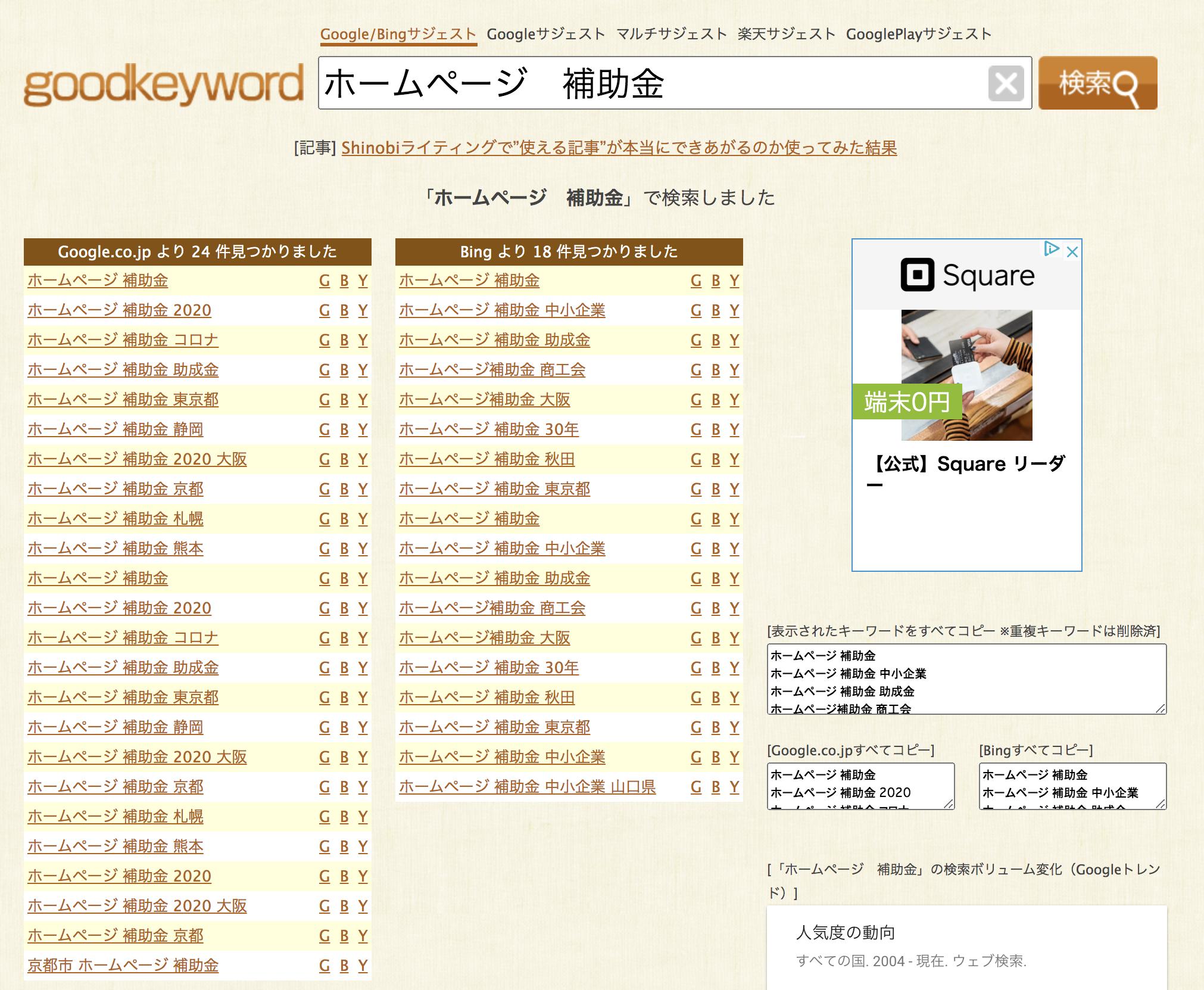 ホームページ制作の補助金がどのようなワードで調べられているか