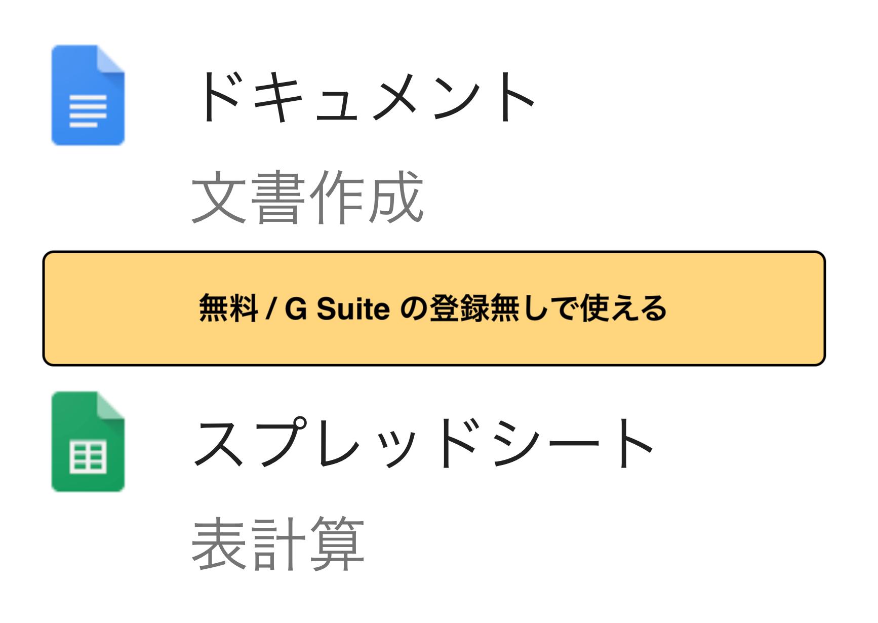 Google ドキュメントとスプレッドシートはG Suiteの登録無しで無料で使うことができます