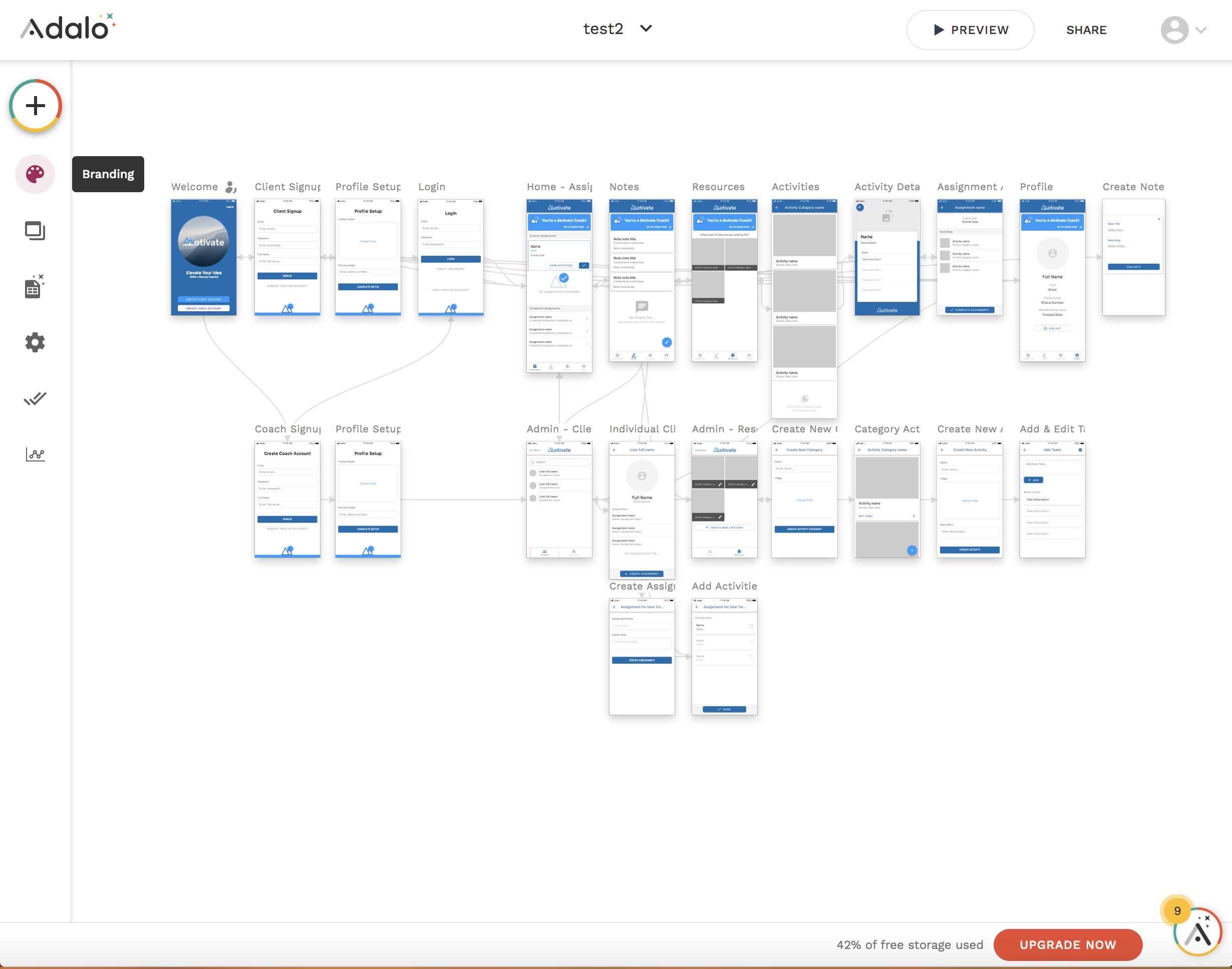 Adaloのアプリ開発画面