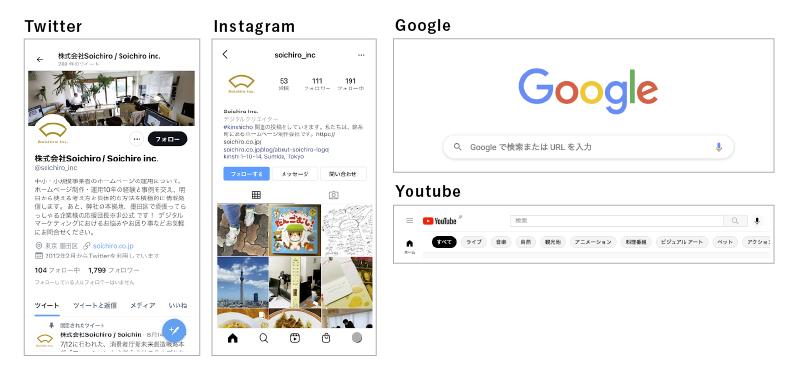 左上からtwitter、Instagram、Google、Youtubeのサイトデザイン